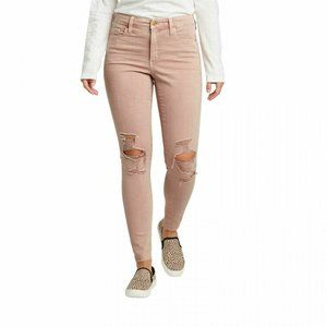 High Rise Distressed Jeggings Pink Stretch